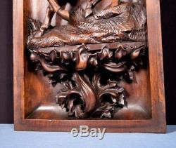 French Antique Deep Carved Architectural Panel Door Solid Walnut Wood withKnight