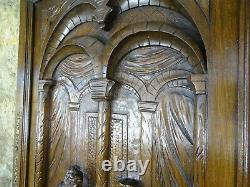 French Antique Deep Carved Architectural Solid Oak Wood Panel Door Castle Scene