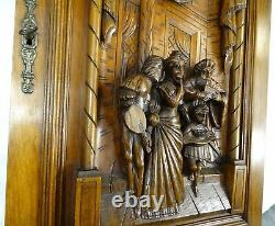 French Antique Deep Carved Architectural Walnut Wood Panel Door Castle Scene