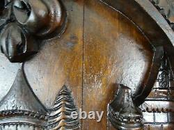 French Antique Deep Carved Architectural Walnut Wood Panel/Door Troubadour