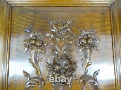 French Antique Deep Carved Panel Door Baccus/Green Man Face Walnut Wood 31T/ N1