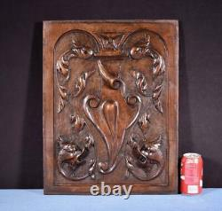 French Antique Deep Carved Panel Door Solid Walnut Wood with Griffins