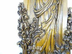 French Antique Deep Carved Walnut Wood Panel Mountain Flowers Art Nouveau