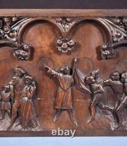 French Antique Deeply Carved Gothic Panel in Solid Walnut Wood Salvage