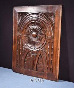 French Antique Gothic Carved Architectural Panel Walnut Wood Salvage