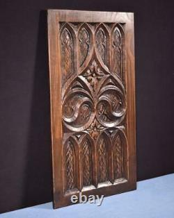French Antique Gothic Carved Architectural Panel in Chestnut Wood Salvage