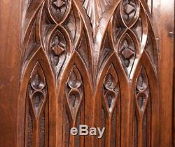 French Antique Gothic Deep Carved Architectural Panel/Door Walnut Wood Salvage