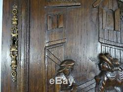 French Antique Hand Carved Oak Wood Door Panel