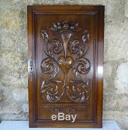 French Antique Hand Carved Walnut Wood Cupboard Door Panel Renaissance Style