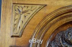 French Antique Hand Carved Wood Romantic Sculpture Wall Panel Door