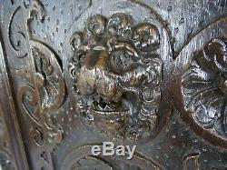 French Antique Highly Carved Architectural Panel Oak Wood Lion 19th Gothic
