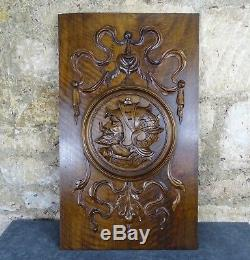 French Antique Highly Carved Architectural Panel Solid Walnut Wood Knight