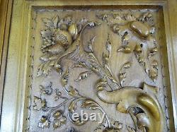 French Antique Large Carved Architectural Solid Walnut Wood Panel Door Gothic