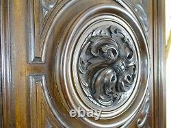 French Antique Large Carved Architectural Walnut Wood Panel Door A Rosette 1