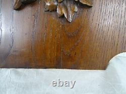 French Antique Large Deep Carved Oak Wood Panel Birds Hunting Salvage