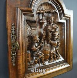 French Antique Middle Ages Hand Carved Walnut Wood Door Panel Tavern 19th. C