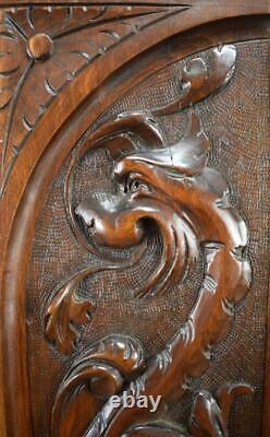 French Antique Pair Carved Wood Architectural Door Panel Gothic Chimera