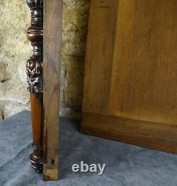 French Antique Pair of Walnut Carved Wood Panel with Columns Gothic