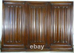 French Antique Three Carved Wood Panel Solid Walnut Gothic