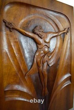French Art Deco Religious Large Hand Carved Wood Crucifix Wall Panel Signed