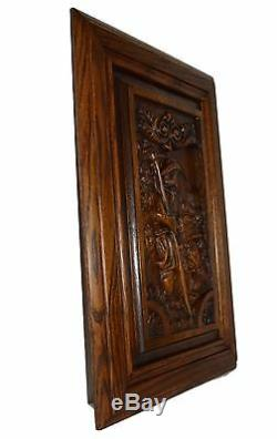 French Carved Wood Door Panel Picture Breton Figures Brittany Wheat Reaper 3