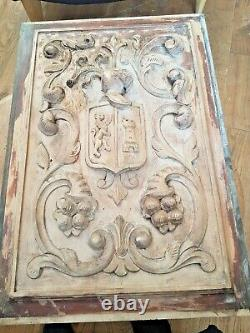 French Carved Wood Wall Panel Door of Middle Ages Knight Shield