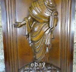 French Large Thick Carved Wood Wall Panel Character from antiquity