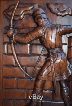 French Large Thick Middle Ages Gothic Carved Wood Wall Panel of Archer Knight