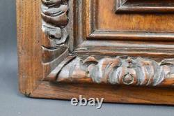 French Pair Black Forest Carved Oak Wood Hunting Trophy Doors Panel