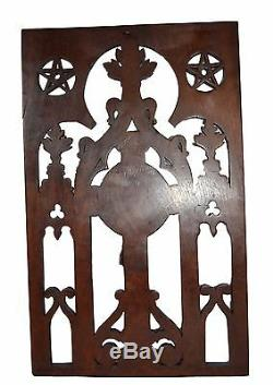 French Religious Large Gothic Carved Wood Panel Jesus Crucifix 19th. C