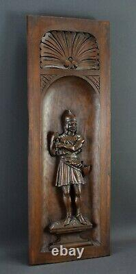French Thick Carved Wood Wall Panel of Gaulish Knight Man