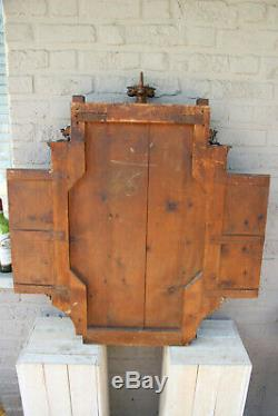 French antique Religious neo gothic church wood carved triptych panels multiple