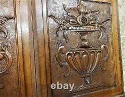 Fruit medici vase wood carving panel Antique french walnut architectural salvage