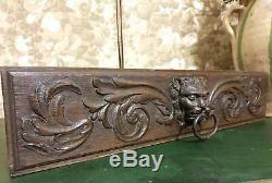 Gargoyle griffin scroll leaves pediment Antique french wood carving panel trim