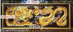 Gold Dragon Phoenix Wood Art Carving Home Wall Panel Decor Sculpture 19 x 35