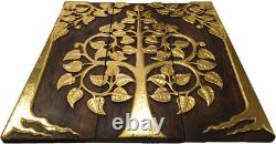 Gold Leaf Sacred Fig Tree. Wood Carved Relief Wall Art Panels. Asian Decor. 36