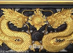 Gold Twin Dragon Wall Art Wood Carving Home Panel Decor Sculpture 15 x 39