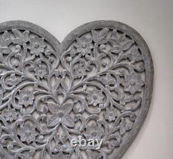 Gorgeous Grey Large Filigree Heart Shaped Hand Carved Wall Panel