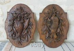 Gorgeous Pair Antique French Hand Carved Wood Doors Panels Cupboard Salvage 19TH