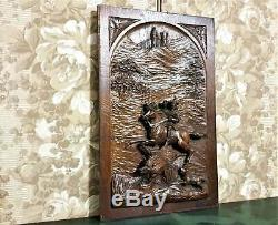 Gothic hunting scene wood carving panel Antique french architectural salvage