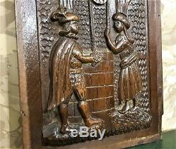 Gothic medieval galant scene carving panel Antique french architectural salvage