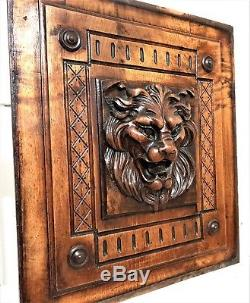 Gothic roaring lion panel Antique french wood carving architectural salvage b