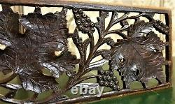 Grapes vine lace pierced wood carving panel antique french architectural salvage