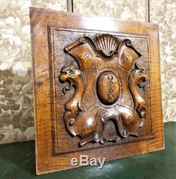 Griffin gargoyle blazon wood carving panel Antique french architectural salvage