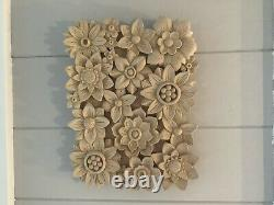 Hand Carved Panel Of Flower Rosettes In Lime Wood Picture Wall Art