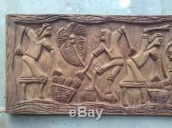 Hand Carved Wood Panel Vintage Wall Hanging Haitian Folk Art Haiti Sculpture Old