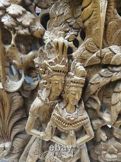 Hand Carved Wood Wall Panel 13x19x1.5 Art Indonesian very good & detailed