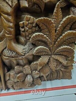 Hand Carved Wood Wall Panel 13x19x2 Art Indonesian very good