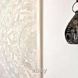 Hand Carved Wooden Decorative Wall Art Lotus Bed Headboard Panel 48x72 Large