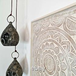 Hand Carved Wooden Decorative Wall Art Lotus Bed Headboard Panel Perfect Gift
